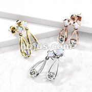 Pair of 316L Surgical Steel Shell-Filled Stud Earrings with Dangling Hollow Teardrop and Enclosed CZ