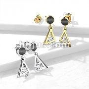 Pair of 316L Surgical Steel Stud Earrings Black Enamel Filled Circle with Dangling Triangle and Enclosed CZ