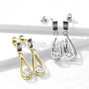 Pair of 316L Surgical Steel Earrings Black Enamel Filled Rectangle with Dangling Hollow Teardrop and Enclosed CZ