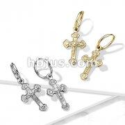 Pair of 316L Surgical Steel Hoop Earrings with Cross Dangle