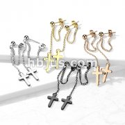Pair of 316L Surgical Steel Ball Stud Earrings with Chain Link and Cross Dangling