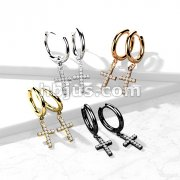 Pair of 316L Surgical Steel Hoop Earrings with CZ Paved Cross Dangle