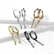 Pair of 316L Surgical Steel Hoop Earrings with CZ Paved Rectangle Dangle