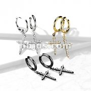 Pair of 316L Surgical Steel Hoop Earrings with CZ Paved Celtic Cross Dangle
