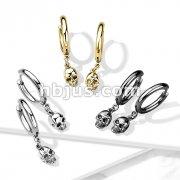 Pair of 316 Surgical Steel Hoop Earrings with Skull Dangle