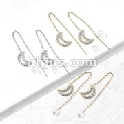 Pair of 316L Surgical Steel Free Falling Threader Earrings with Crystal Paved on a Crescent Moon
