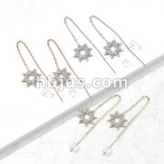 Pair of 316L Surgical Steel Free Falling Threader Earrings with Crystal Paved on a Snowflake