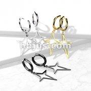 Pair of 316L Surgical Steel Hoop Earrings with Star Cross Dangle