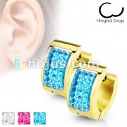 Square Crystal Paved IP Gold over Stainless Steel Hoop Huggie Earrings
