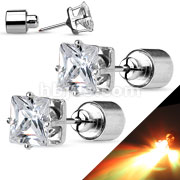 Pair of LED Blinking with Clear Square CZ Stud 316L Surgical Steel Earring