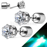 Pair of LED Blinking with Round CZ Stud 316L Surgical Steel Earring