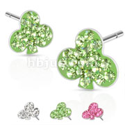 Pair of 316L Surgical Steel Multi Paved Clover Ferido Stud Earring