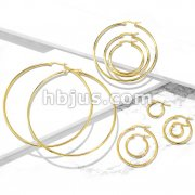 Pair of Gold IP 316L Stainless Steel Round Hoop Earrings