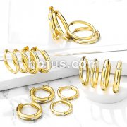 Pair of Cross Cut Gold IP Stainless Steel Hinge Action Hoop Earrings