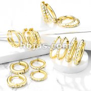 Pair of Round Cut Gold IP Stainless Steel Hinge Action Hoop Earrings
