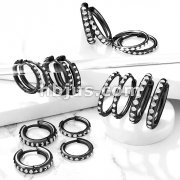 Pair of Round Cut Black IP Stainless Steel Hinge Action Hoop Earrings