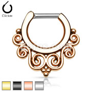 Tribal Swirls IP 316L Surgical Steel Septum Clicker