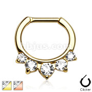 Five Pronged CZs Gold IP Over 316L Surgical Steel Septum Clicker Ring