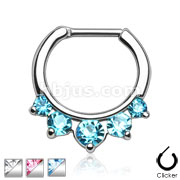 Five Pronged CZs 316L Surgical Steel Septum Clicker Ring