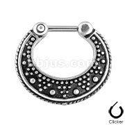 Dotted Pattern Two Tone 316L Surgical Steel Septum Clicker Ring