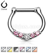 Five-Gems 316L Surgical Steel Septum Clicker Ring