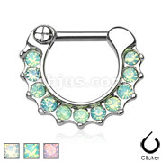 Opalites Paved 316L Surgical Steel Septum Clicker Ring