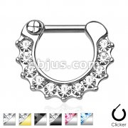 Gem Paved 316L Surgical Steel Septum Clicker Ring