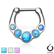Five Paved Opalites 316L Surgical Steel Septum Clicker Ring