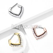 CZ Paved Chevron Shape Clicker for Septum, Daith and More