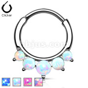 Five Paved Opal Round 316L Surgical Steel Septum Hanger