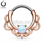 Opal Centered Filigree Rose Gold Plated Round 316L Surgical Steel Bar Nose Septum/Ear Cartilage Clicker Rings