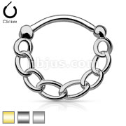 316L Surgical Steel Round Septum Clicker with Linked Chai