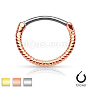 Twisted Roped Line 316L Surgical Steel Round Septum Clicker