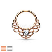 CZ Centered Lotus Filigree All Brass Bendable Septum/Cartilage Rings