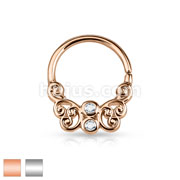 CZ Centered Butterfly Filigree All Brass Bendable Septum/Cartilage Rings