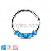 5 Opal Prong Set 316L Surgical Steel Bendable Septum/Cartilage Hoop Ring