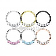 60 Pcs 5 Round CZ Set 316L Surgical Steel Bendable Hoop Rings for Septum, Ear Cartilage and more Bulk Pack (10 pcs x 6 Colors)