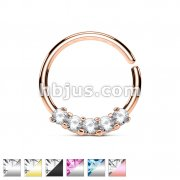 5 CZ Prong Set 316L Surgical Steel Bendable Septum/Cartilage Hoop Ring