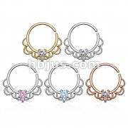 50 Pcs CZ Centered Filigree 18Kt. Gold and Platinum Plated over Brass Septum, Cartilage Hoop Ring Bulk Pack (10 pcs x 6 Colors)
