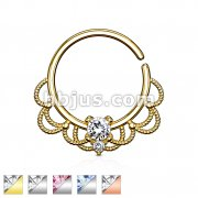 CZ Set Centered Filigree Bendable Hoop Rings for Nose Septum, Daith and Ear Cartilage