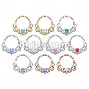 60 Pcs Opal Centered Filigree 18Kt. Gold and Platinum Plated over Brass Septum, Cartilage Hoop Ring Bulk Pack (6 pcs x 1 Colors)