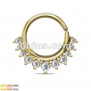 Crystal Paved Half Circle Bendable Nose Septum and Ear Cartilage Hoops