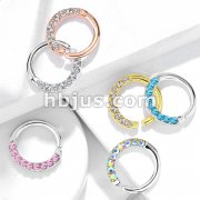Half Circle Lined CZ Set  Bendable Hoop Rings for Septum, Ear Cartilage, Daith and More