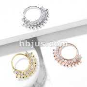 CZ Lined Fan Bendable Hoop Rings for Septum, Ear Cartilage, Daith, and More