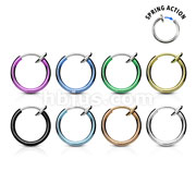 Spring Action Titanium IP Over 316L Stainless Steel Fake Septum & Nose Hoop (20pcs x 8colors)