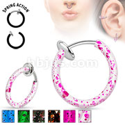 Spring Action Non-Piercing Hoop with Splatter finish for Septum/Ear/Nose