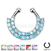 Double Line Paved Gem Septum Hanger