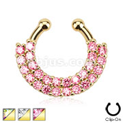 Double Line Paved Gem Gold IP Septum Hanger