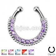 Single Line Paved Gem Septum Hanger