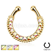 Single Line Paved Gem Gold IP Septum Hanger